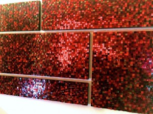 "Pixels Collage in Crimson / 30"" x 72"" multiple panels"